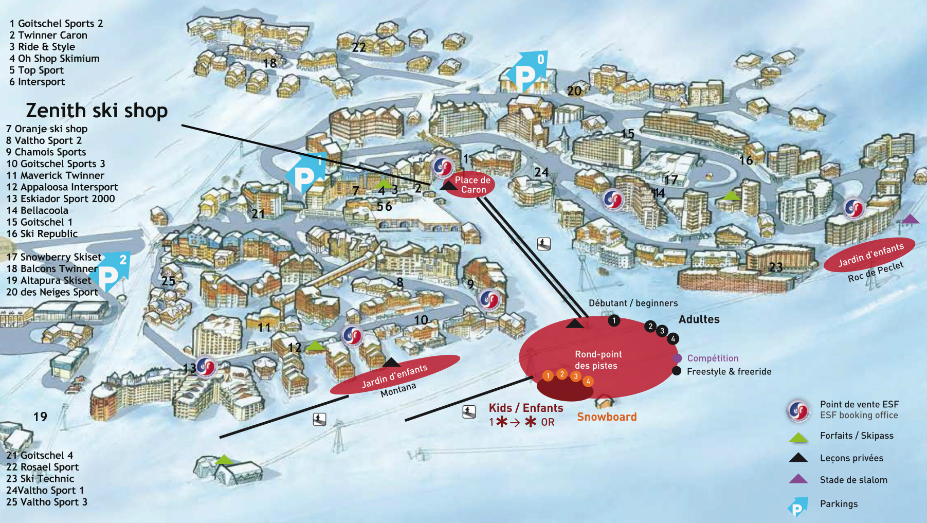 Location map of ski shops in Val Thorens