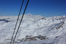The resort of Val Thorens with Mont Blanc behind