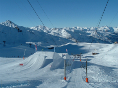 Val Thorens ski area - view of snowpark